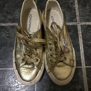 Superga gold glitter sneakers